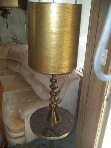 Brass lamp with gold finish shade 12340
