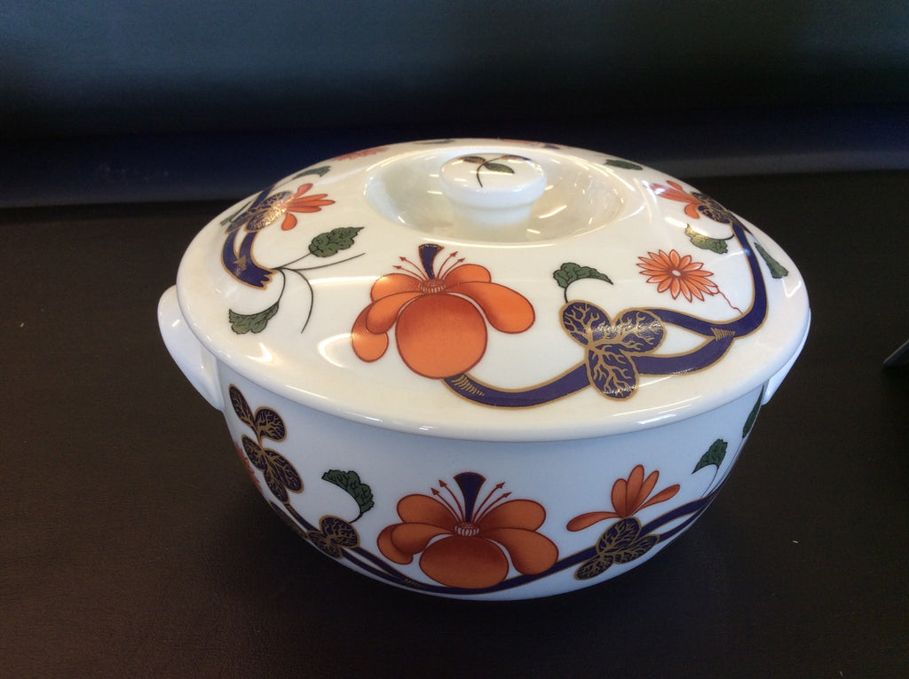 Royal Worcester Grainger Imari Orange Blue Floral Covered Casserole Vintage 20011 121