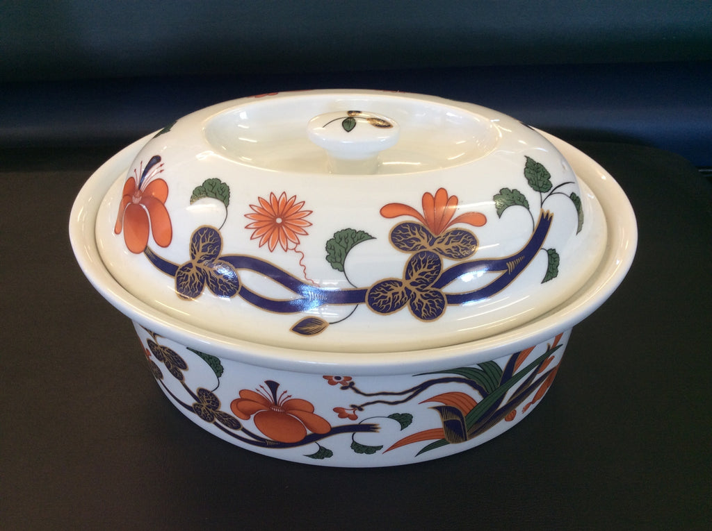 Royal Worcester Grainger Imari Quart Covered Casserole Floral Blue 20014 121