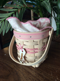 Longaberger Horizon of Hope Breast Cancer Basket Handwoven pink white 7101 121
