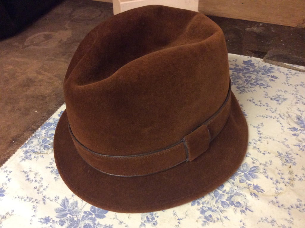 Vintage Men s Brown Stetson Fedora Hat 3X Beaver Fur Felt The ... 9efbdf693a3