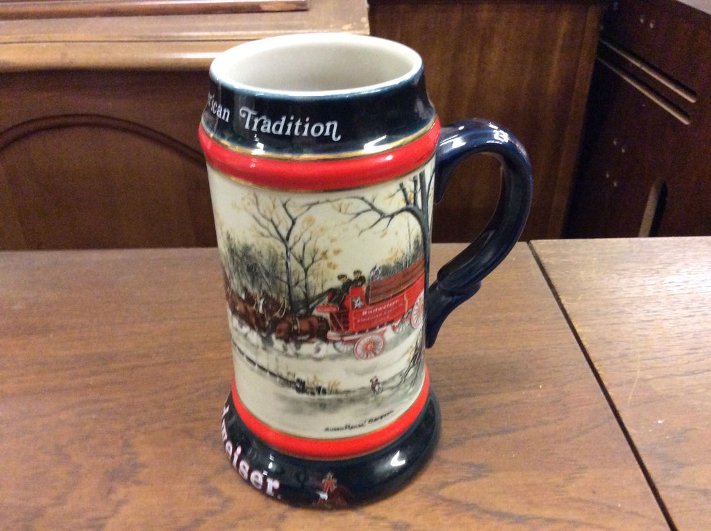 Budweiser Holiday Christmas Stein 1990 Clydesdales Anheuser Busch Mug 20053 121