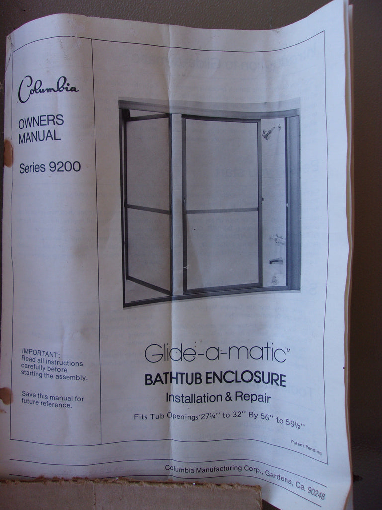 Glide-A-Matic tempered glass bathtub shower tub enclosure New 13166