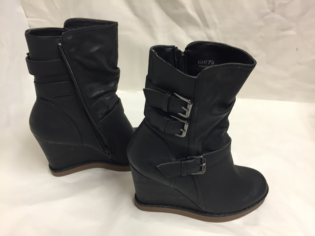 Report Woman's Francine Boot Black Wedge Heels Shoes 7.5 20118 121