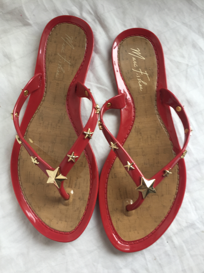 Marc Fisher Womens 6 Red Star Sandals Shoes 20217 121