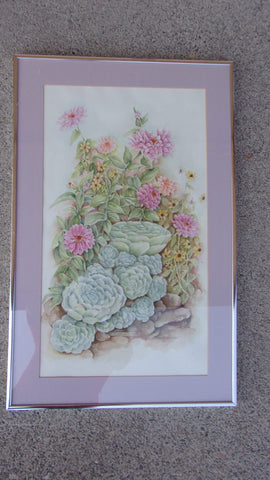 Watercolor original flowers signed by local artist Francia Barbier, PROCEEDS SUPPORT CARR VICTIMS 13617