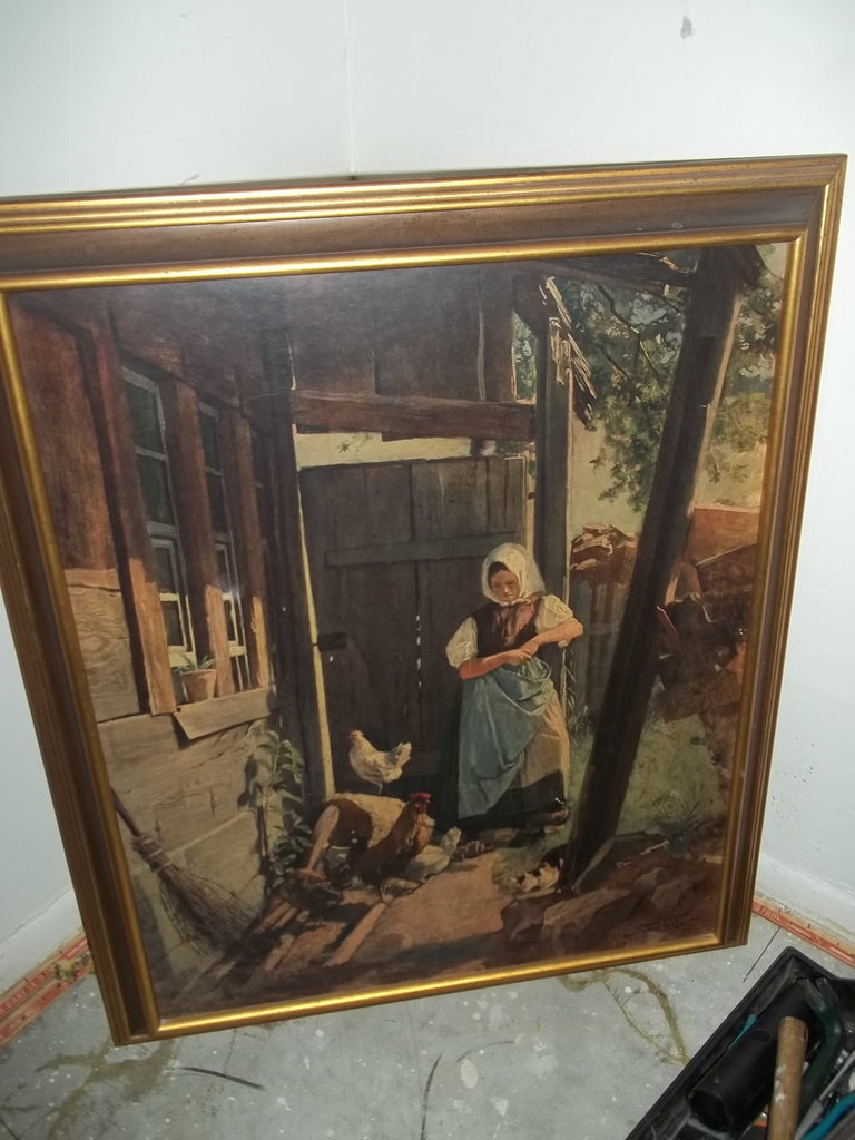 Framed print The woman is painting 16028