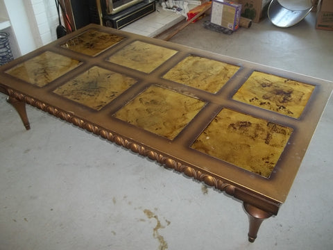Coffee table gold leaf glass tile top 16020