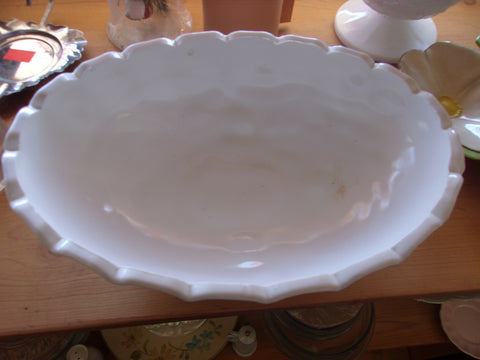 White vase footed casserole serving dish 16821