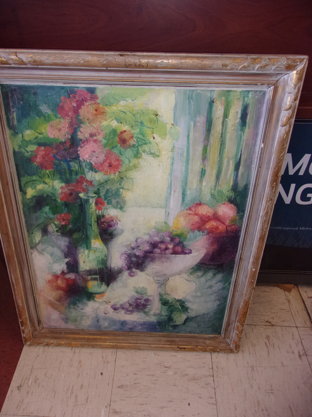Framed fruit oil painting on masonite 16830