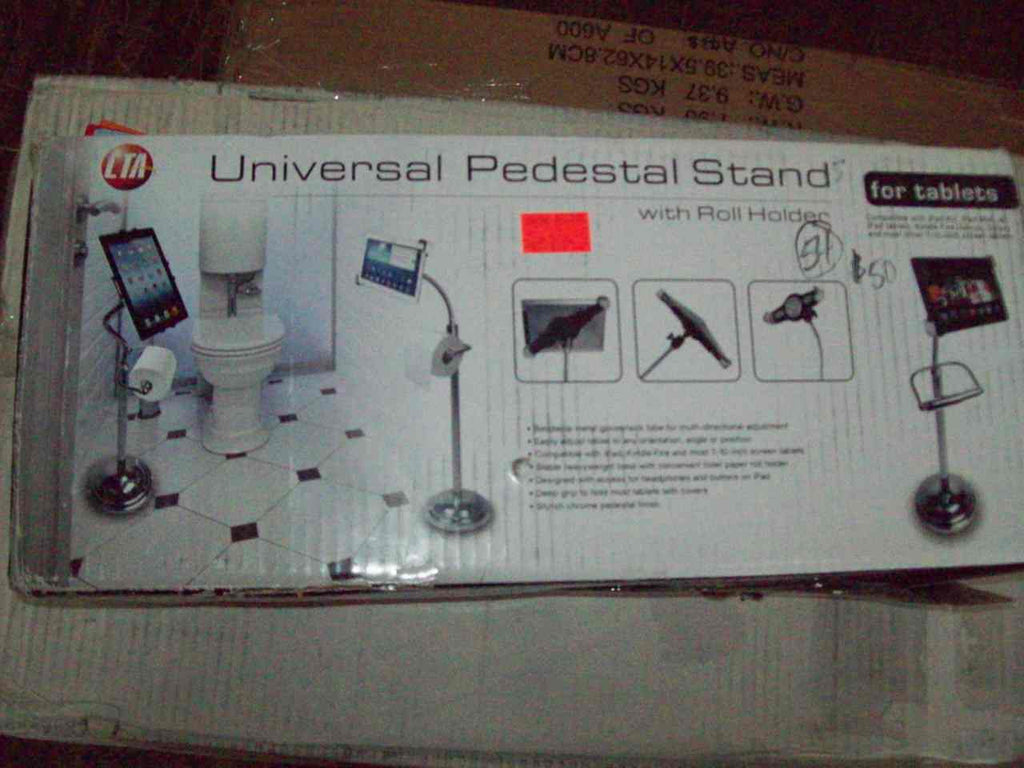 Pedestal bathroom phone/tablet stand w/ toilet roll holder NEW in box R18296