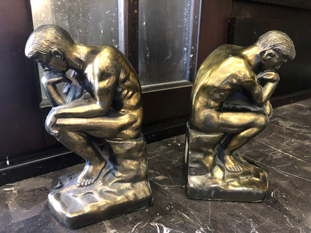 "1999 Barnes & Nobles Thinking Man Figurine Statue Book Ends 7 1/2"" Bookends 20363 121"