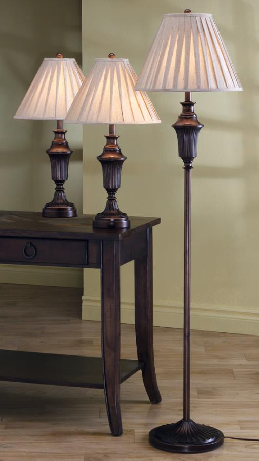 3pc set floor lamp, 2 table lamps NEW CO-901147