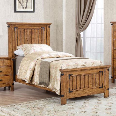 Brenner twin panel bed rustic honey finish NEW CO-205261T