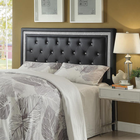 Andenne headboard upholstered tufted black glam Eastern/standard or Cal/California king NEW CO-300544K