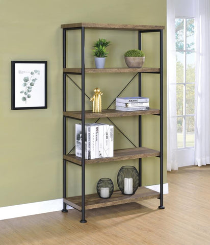 Analeise bookcase display shelf rustic oak finish NEW CO-802543