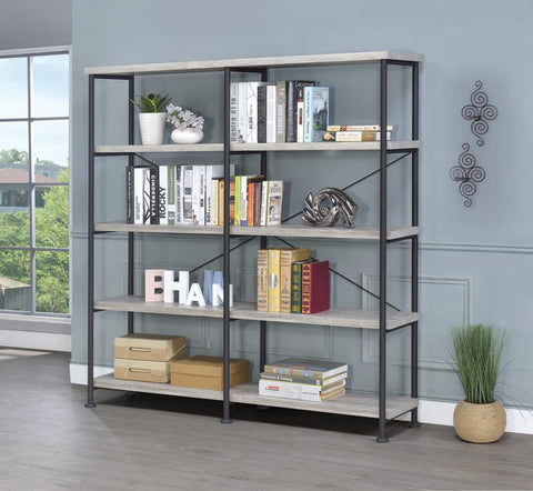 Analiese 4-shelf open display bookcase grey/gray driftwood finish NEW CO-801544