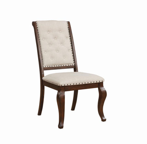 Brockway side dining chair tufted nail studded cream/antique java finish NEW CO-110312