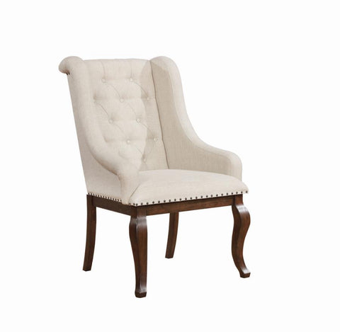 Brockway dining arm chair tufted nail studded cream/antique java finish NEW CO-110312