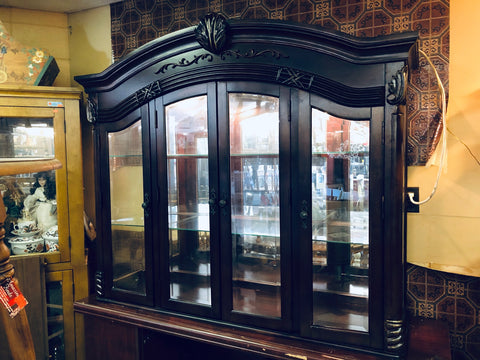 China cabinet hutch TOP ONLY dark wood finish glass shelves lighted 18648