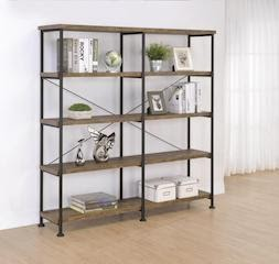 Analiese double wide bookcase display shelf in metal/rustic oak finish CO-802545