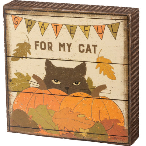 Block Sign - Grateful For Cat Primitives by Kathy NEW PK-103920