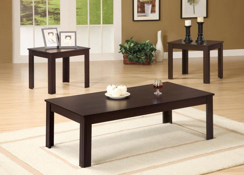 3 pc occasional set coffee table with 2 end tables cappuccino NEW CO-700215