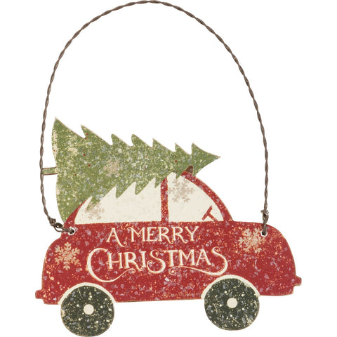 Christmas Ornament - Tree Car Primitives by Kathy NEW PK-36071
