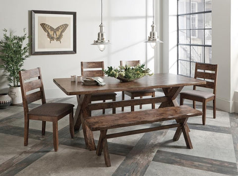 Alston dining table w 4 chairs, 1 bench 6pc set NEW CO-106381-S6