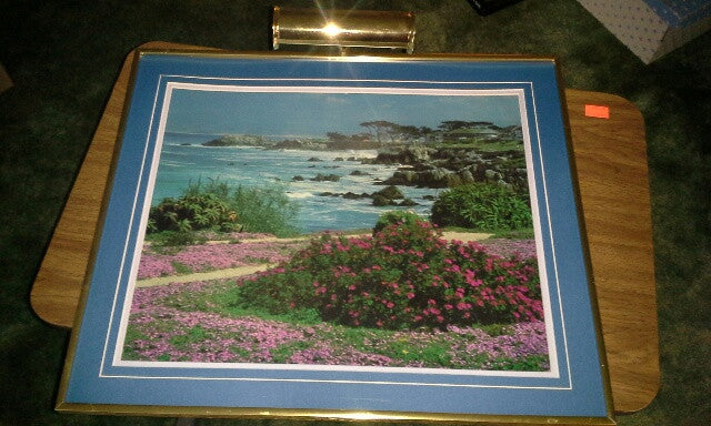 Print, rocky beach w lighthouse R15950