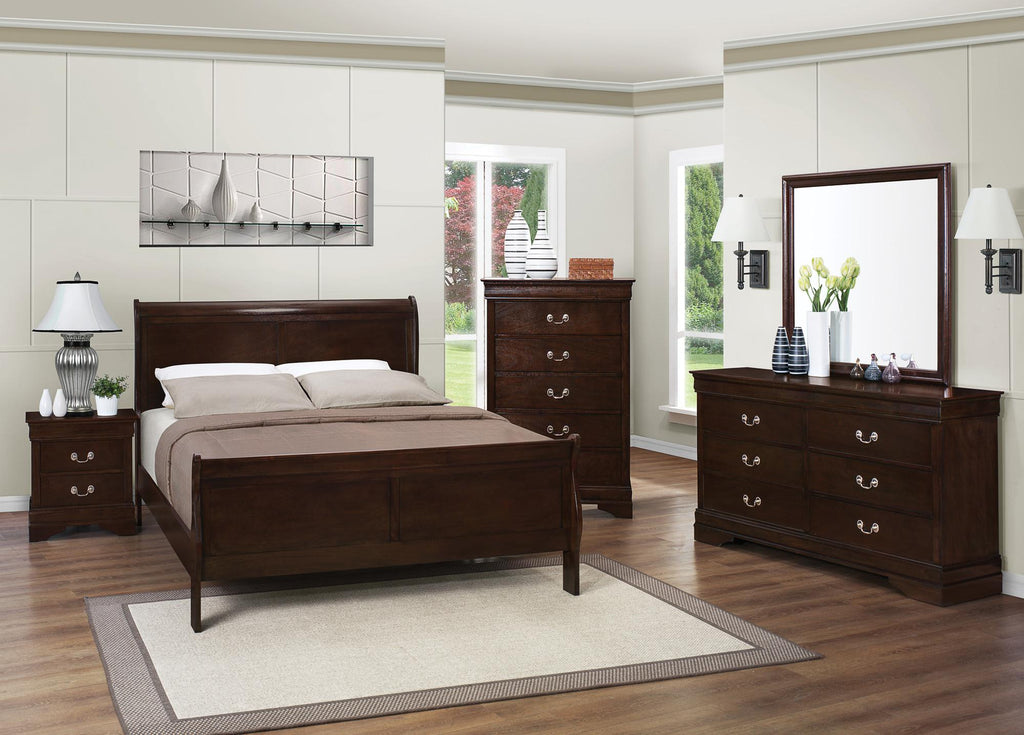Louis Philippe bed, twin sleigh cappuccino CO-202411T