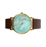 Unisex Faux Leather Map Watch