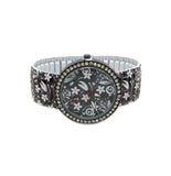 Floral-Print Clear Stone Watch
