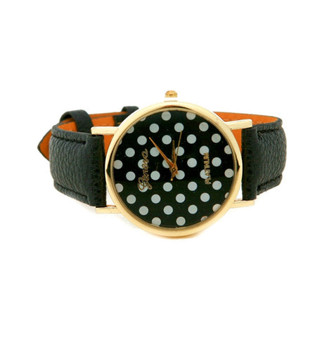POLKA DOT PU LEATHER WATCH
