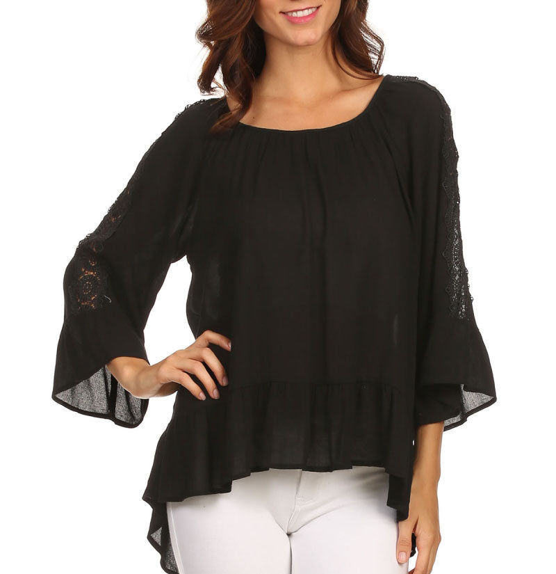 Black Flare Sleeve Hi-Lo Lace Top