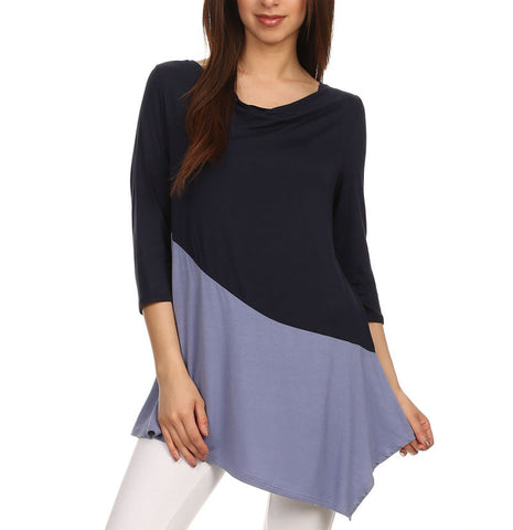 Color Block Jersey Knit Top