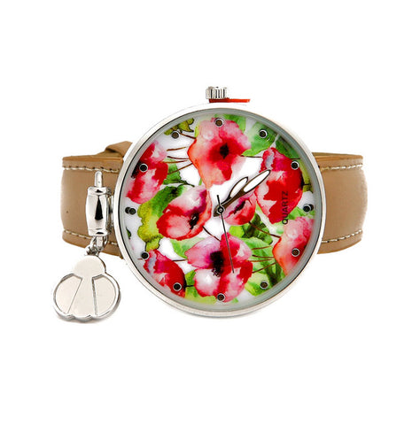 PU LEATHER FLORAL DIAL WATCH