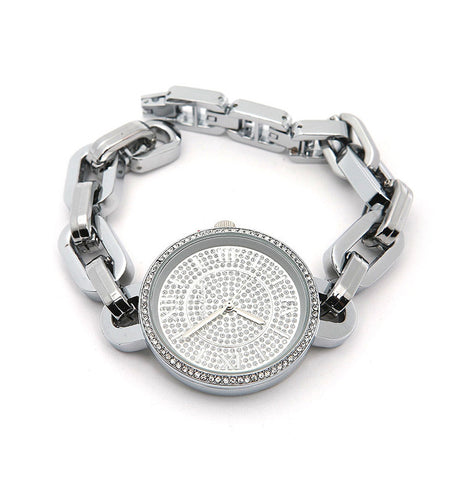 SILVER Chain Watch with Stones