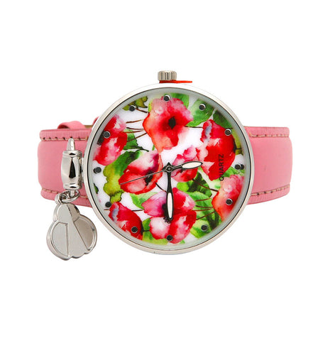 PINK PU LEATHER FLORAL WATCH