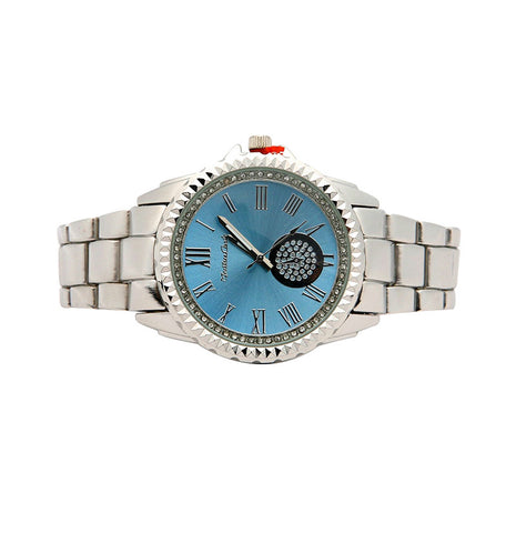SILVER METAL DIAL BAND WATCH