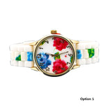 FLOWER PRINT SILICON WATCH