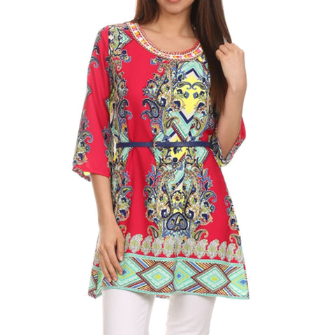 RED PAISLEY PRINT TUNIC TOP
