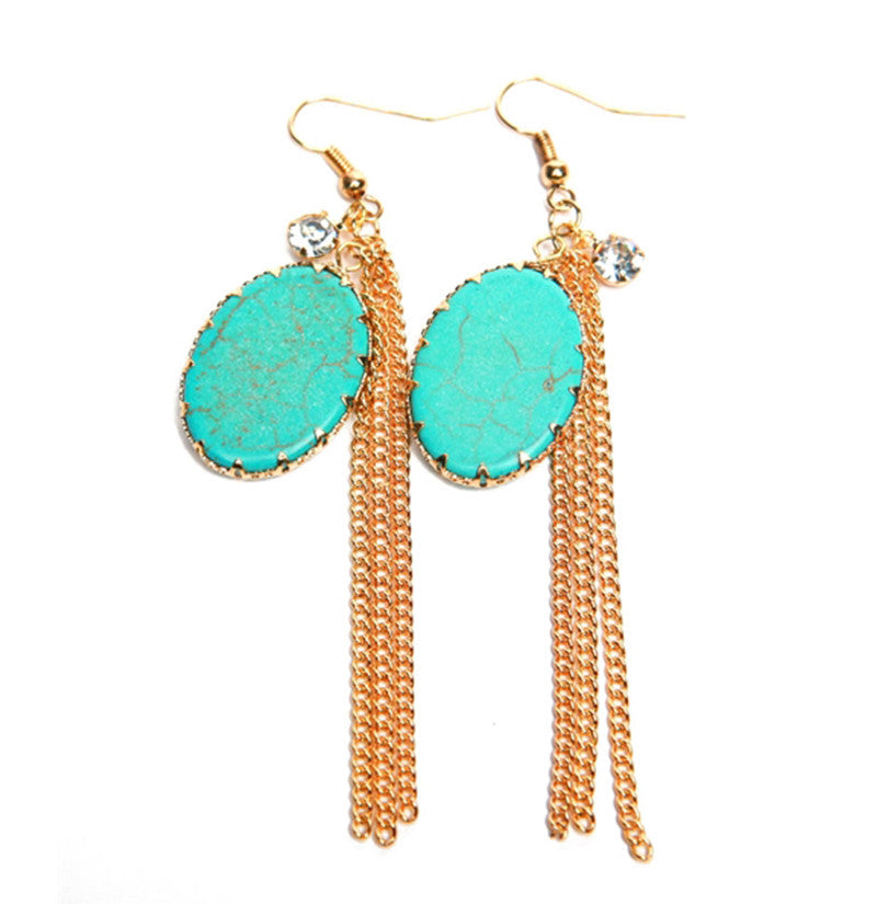 OVAL TURQUOISE STONE DANGLING EARRING
