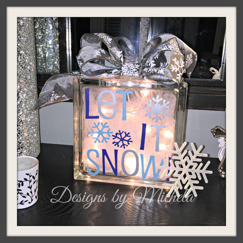 Christmas Let it Snow Lighted Glass (8 inch) Block - GR017 - Designs by Michela