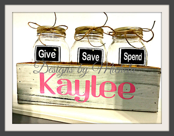 Give Save Spend Monogrammed Savings Jars With Wooden Box ~ GF086 - Designs by Michela  - 1
