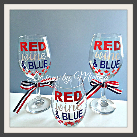 Red, Wine, & Blue 20oz Wine Glass GF057 - Designs by Michela