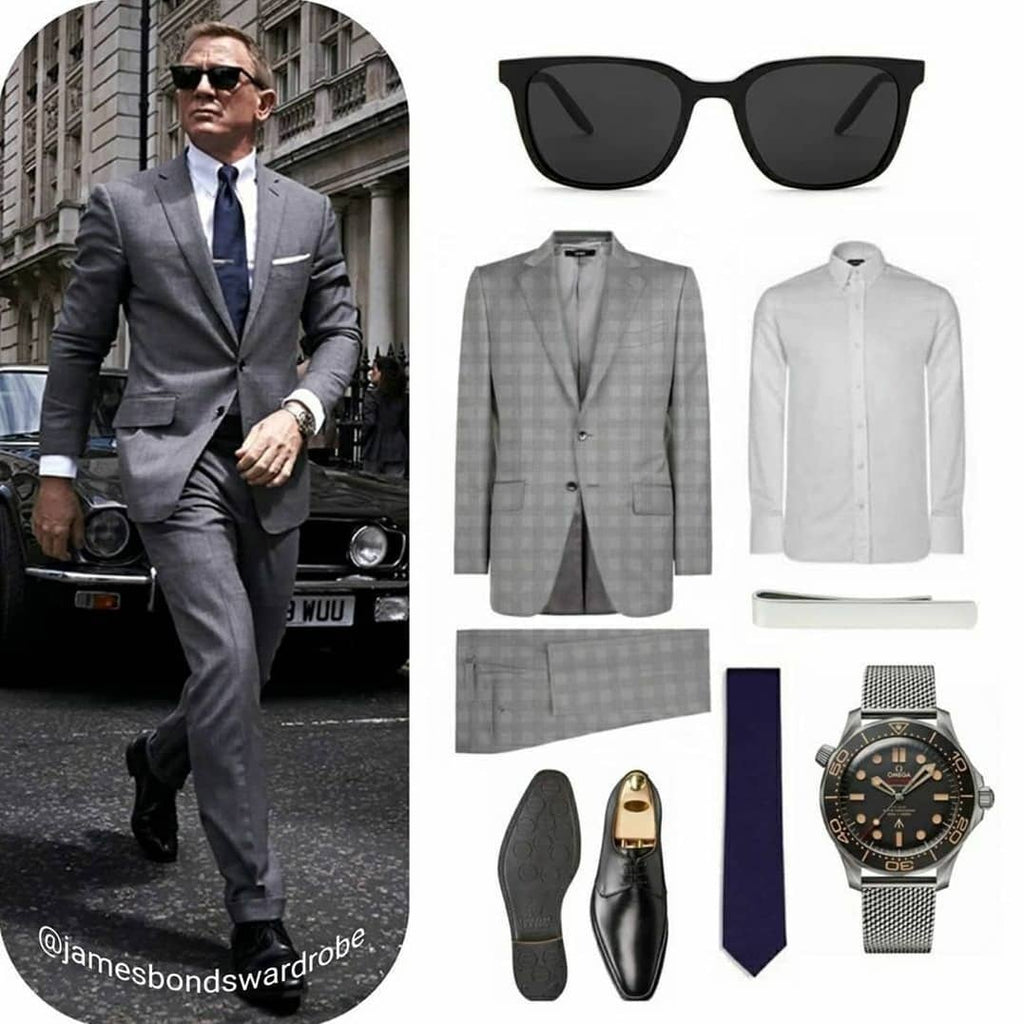 James Bond No Time To Die Tom Ford Grey Prince of Wales Check Suit London