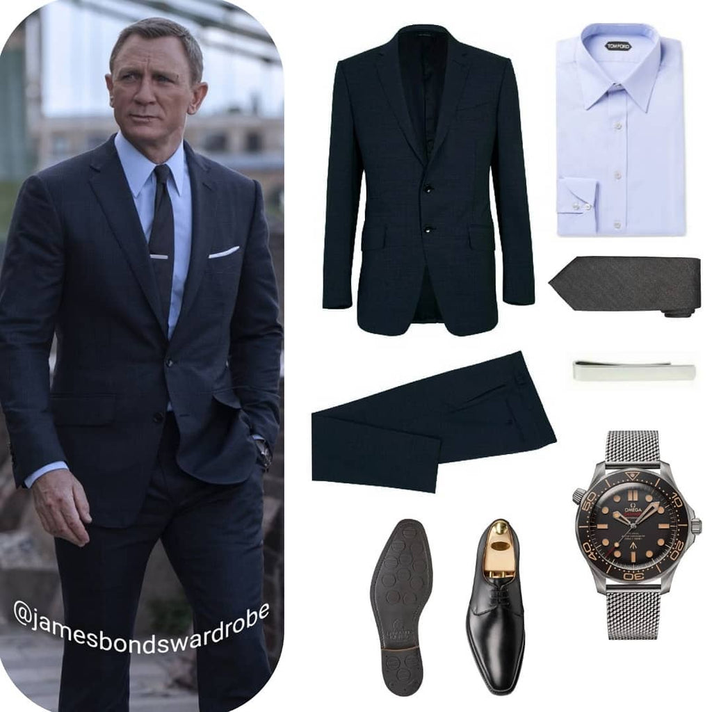 James Bond No Time To Die Tom Ford Navy Suit in London