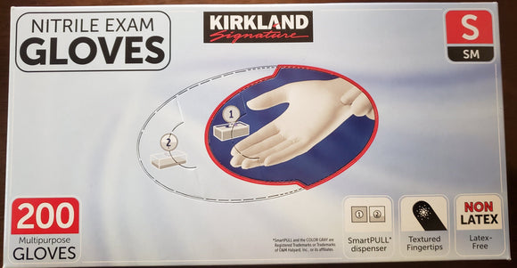 Kirkland Nitrile Exam Gloves - 200 ct. - (non latex) Small or Medium Size.