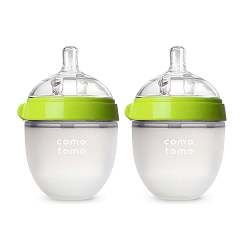 Comotomo Baby Bottle, Green, 5 Ounce, 2 Count